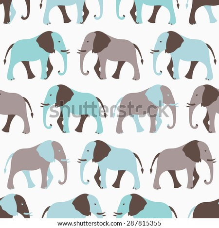 Animal seamless retro vector pattern of elephant silhouettes. Endless texture can be used for printing onto fabric, web page background and paper or invitation. White, blue and gray colors. - stock vector