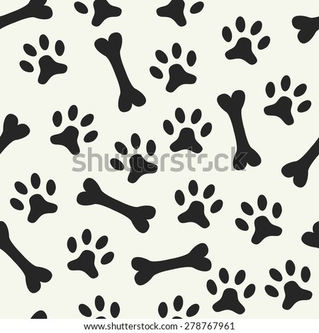 Animal seamless vector pattern of paw footprint and bone. Endless texture can be used for printing onto fabric, web page background and paper or invitation. Dog style. Black and white colors. - stock vector