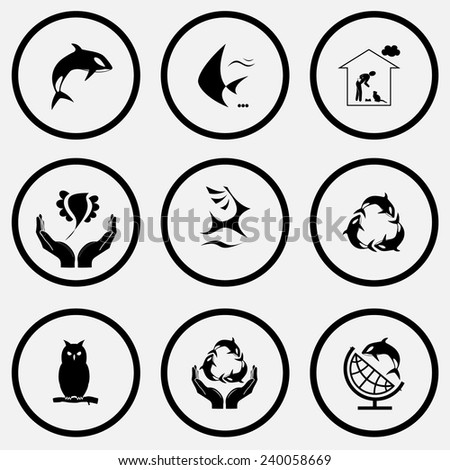Animal set. Black and white set vector icons. - stock vector