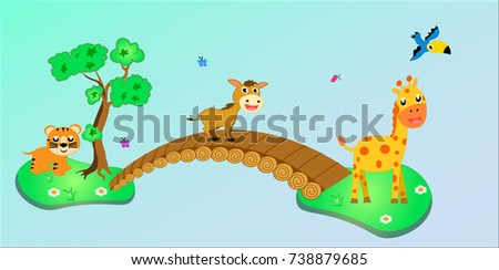 animal set for kindergarten wallpaper. vector cartoon illustration