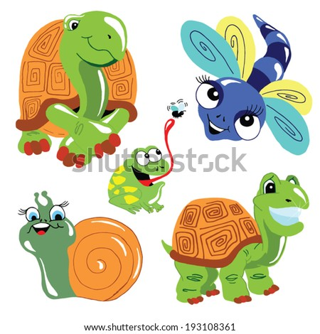 animal set of six set of 6 cute friendly animals including turtles, a frog, snail, dragonfly, and more