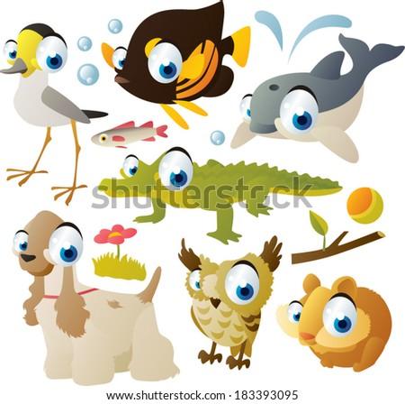 animal set: sandpiper, fish, dolphin, crocodile, hamster, owl, dog - stock vector