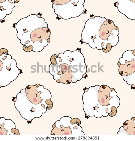 animal sheep cartoon , cartoon seamless pattern background - stock vector