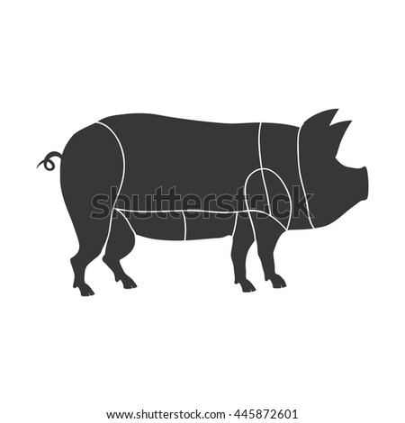Animal silhouette concept represented by pig icon. isolated and flat illustration