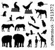animal silhouettes (vector) - stock vector