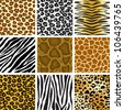 animal skin seamless pattern set - stock vector