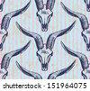Animal skull with horns, vector seamless pattern - stock