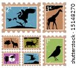 animal stamps - stock vector