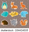 animal stickers - stock vector