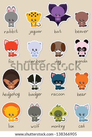 Animal stickers set - stock vector