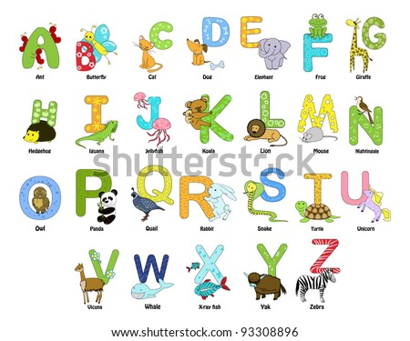 animals that start with the letter x animal themed alphabet z stock vector 93308896 15186