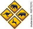 animal traffic sign - stock vector