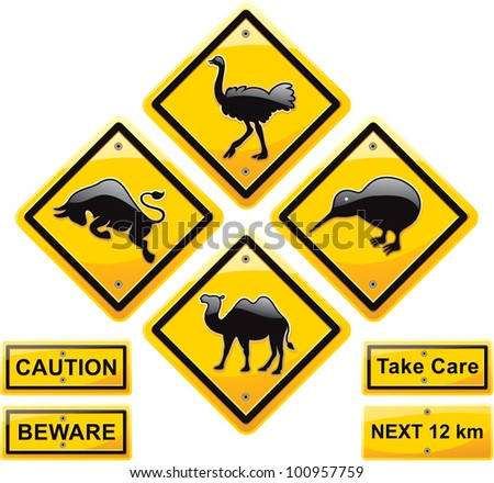 Animal  traffic sign  high quality vector design