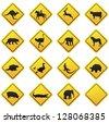 Animal traffic sign.Vector - stock vector