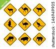 Animal traffic sign vector - stock vector