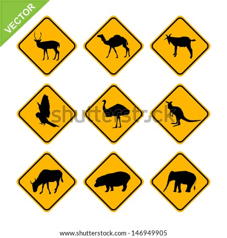 Animal traffic sign vector - stock vector