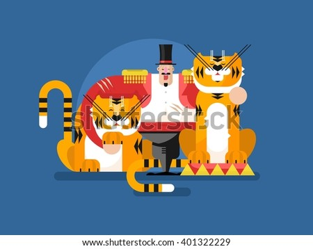 Animal trainer with tiger - stock vector