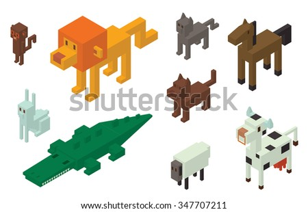 Animal vector 3d isometric icons collection. Wild animals collection. Jungle animals, vector animals, horse, lion, monkey. Cat and dog. Crocodile, cow, sheep and rabbit. Pets animals icons silhouette - stock vector