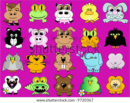 Animal vector, including assortment of farm,safari and reptiles. - stock vector