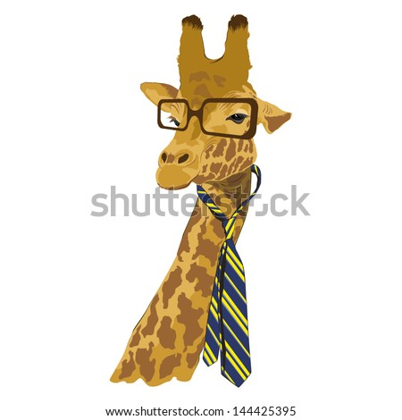 animal vector portrait, giraffe in glasses and tie - stock vector