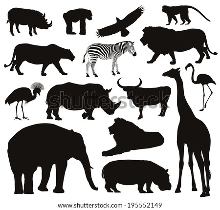 Animal vectors. Collection of silhouettes - stock vector