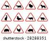 animal warning signs - stock vector