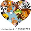 Animal with heart shape - stock vector