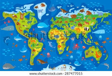 Animal world. Funny cartoon character. Vector illustration - stock vector