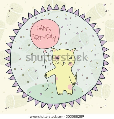 Animal yellow cat with pink balloon, gifts, garlands, cap on seamless pattern with birthday cupcakes and a candle for invitation, birthday cards Vector illustration eps10 - stock vector