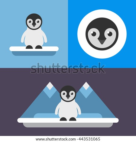 Animals. A set of three illustrations in blue colors of cute penguin. Iceberg, ice floe, cold, little pinguin. Colored flat vector illustration. - stock vector