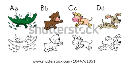 Animals Alphabet Coloring Book Letters B Stock Vector 1044761851 ...