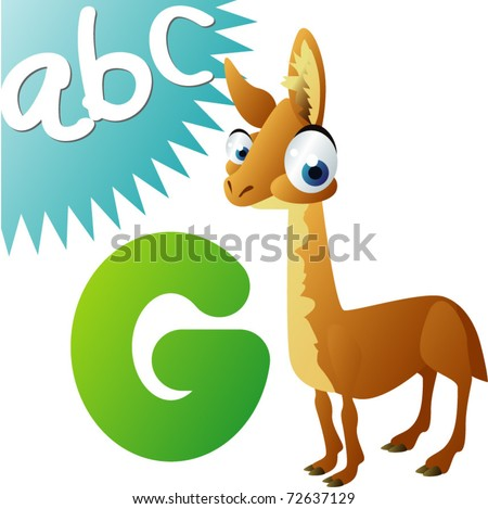 animals alphabet: G is for Guanaco - stock vector