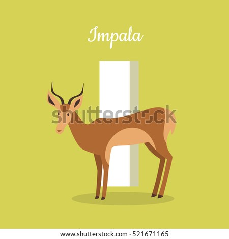 animals alphabet letter i brown impala stock vector 521671165