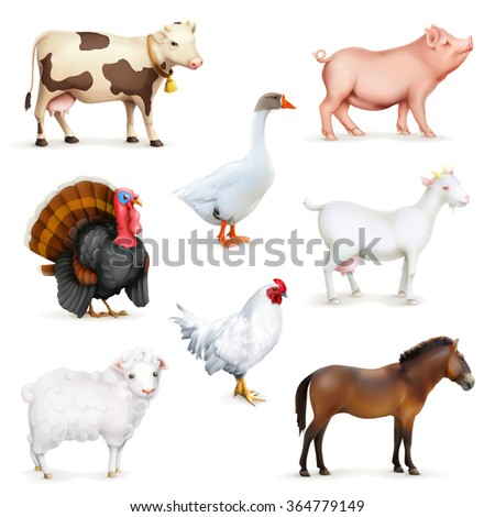 Animals and birds, farm set of vector icons - stock vector
