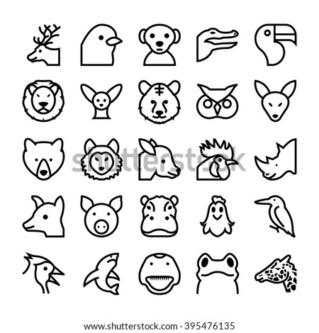 Animals and Birds Vector Icons 4 - stock vector