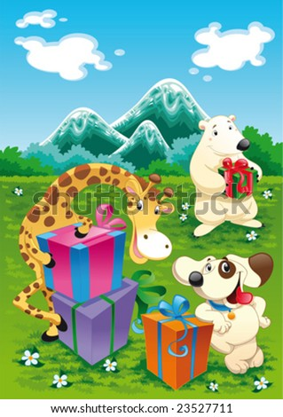 Animals and gifts with background. Funny cartoon and vector illustration, isolated objects - stock vector