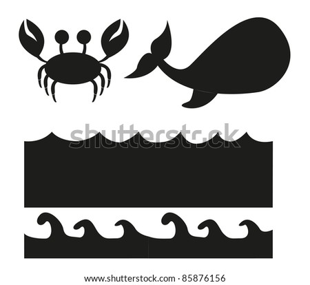 animals and sea silhouette isolated over white background. vector - stock vector