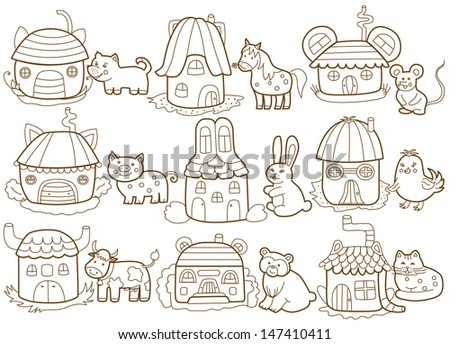 animals and their houses (coloring book) - stock vector