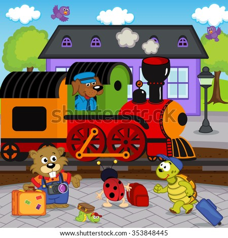 animals at railway station - vector illustration, eps