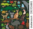 Animals Australia: Echidna Platypus ostrich Emu Tasmanian devil Cockatoo parrot Wombat snake turtle crocodile alliagtor kangaroo dingo octopus fish lizard.  Seamless pattern on dark background. Vector - stock vector