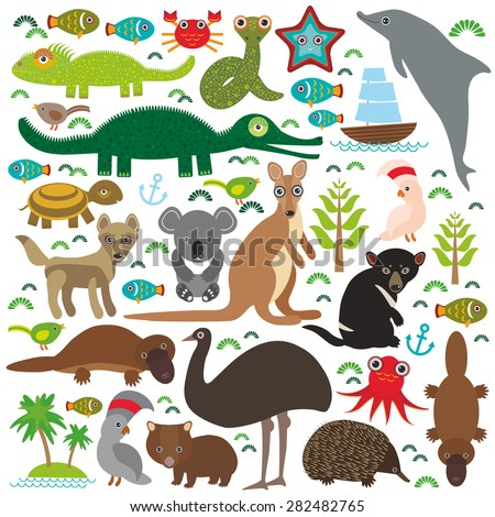 Animals Australia: Echidna Platypus ostrich Emu Tasmanian devil Cockatoo parrot Wombat snake turtle crocodile kangaroo dingo octopus fish Monitor lizard. Set on white background. Vector  - stock vector