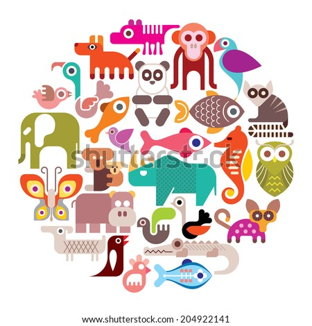 Animals, Birds and Fishes - round vector illustration. Isolated color icons on white background. - stock vector