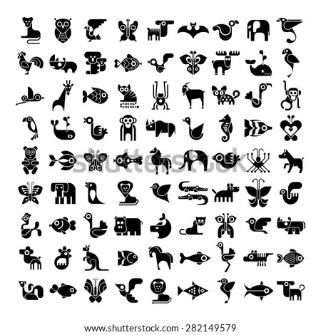 Animals, birds, fishes and insects large vector icon set. Isolated black and white images. - stock vector