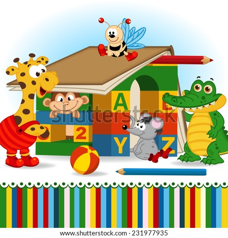 animals built house out of baby blocks - vector illustration, eps - stock vector