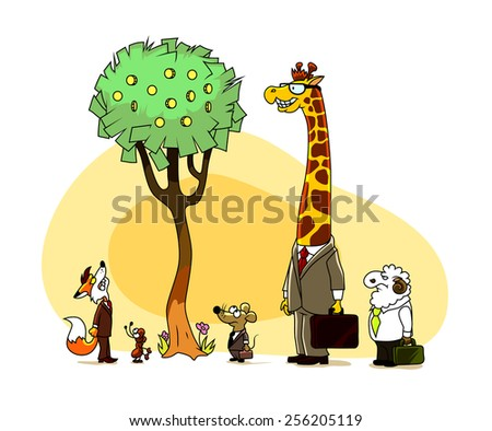 Animals-businessmen looking at money tree. Prudence and superiority concept.  - stock vector
