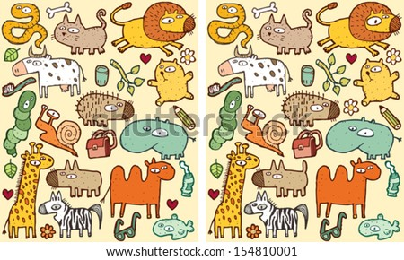 Animals Differences Visual Game. Task: find 10 differences! Solution in hidden layer (vector file only). Illustration is in eps8 vector mode! - stock vector