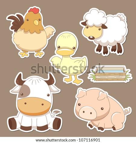Animals farm set - stock vector