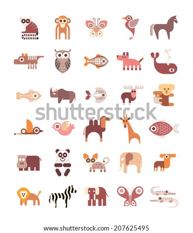 Animals, Fishes and Birds - set of isolated vector icons on white background. - stock vector