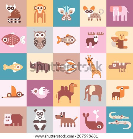 Animals, Fishes and Birds - vector illustration. Graphic design with variety animal icons. - stock vector