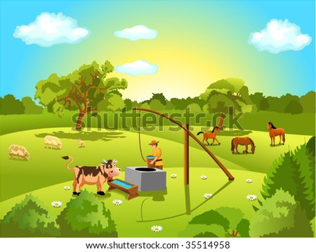 animals grazing in the field - stock vector
